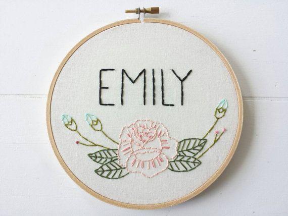 Custom name embroidery hoop art floral rose hand