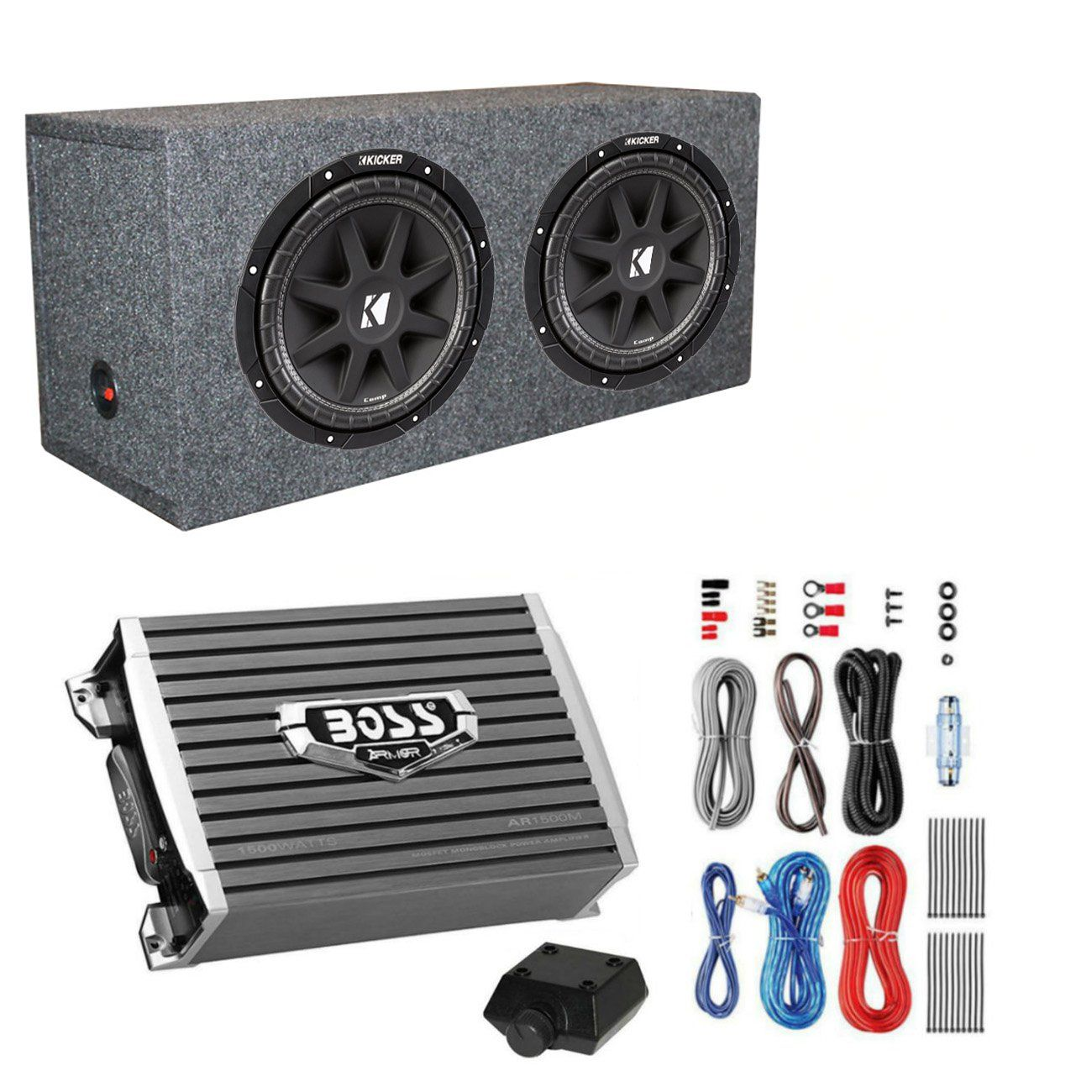 Kicker 600 Watt 12 Subwoofers (Pair) Sealed Box Enclosure ... on rockford fosgate wiring kit, jl audio wiring kit, kicker amp with 8, 0 gauge amp kit,