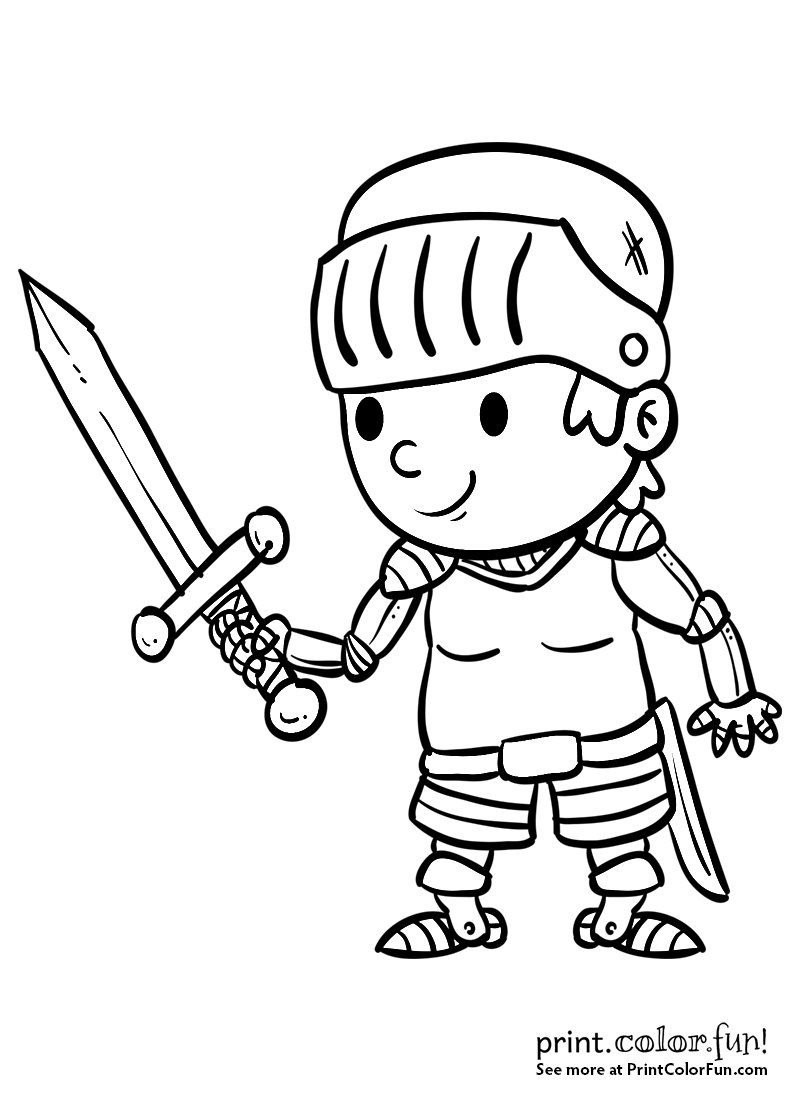 Cartoon boy knight with a sword coloring page - Print. Color. Fun ...