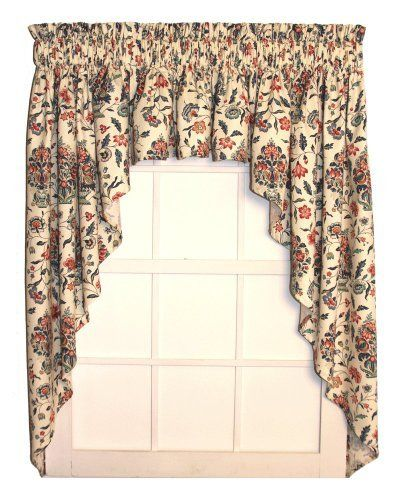 Elizabeth Tailored 3 Piece Swags Valance Curtains Set 150 Inch By