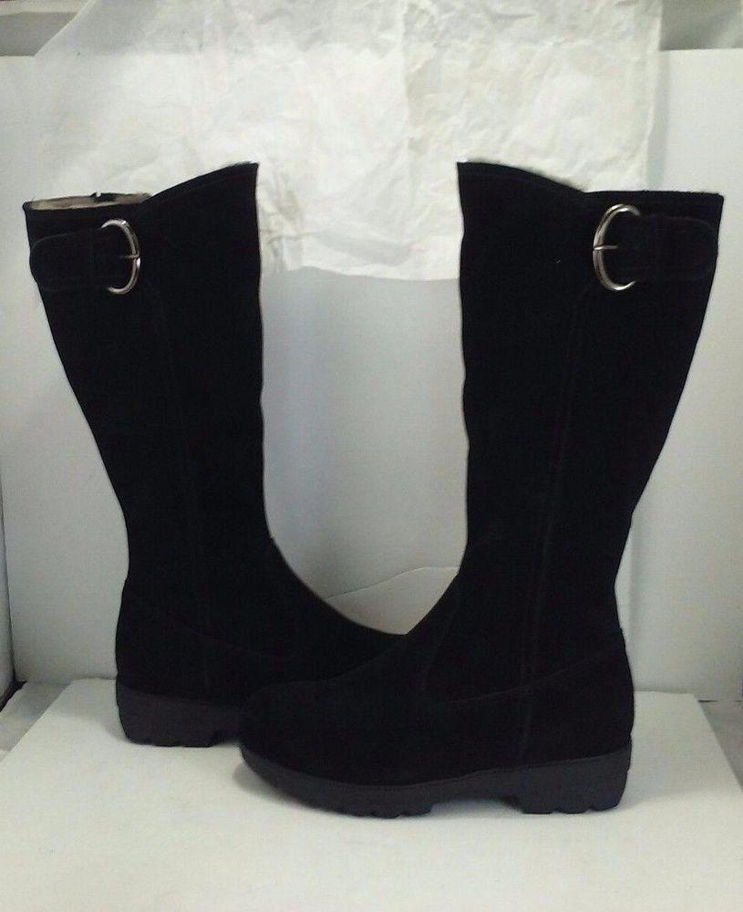 La Canadienne Vale Damens's schwarz Waterproof schwarz Damens's Suede Shearling Knee ... 1b6d15