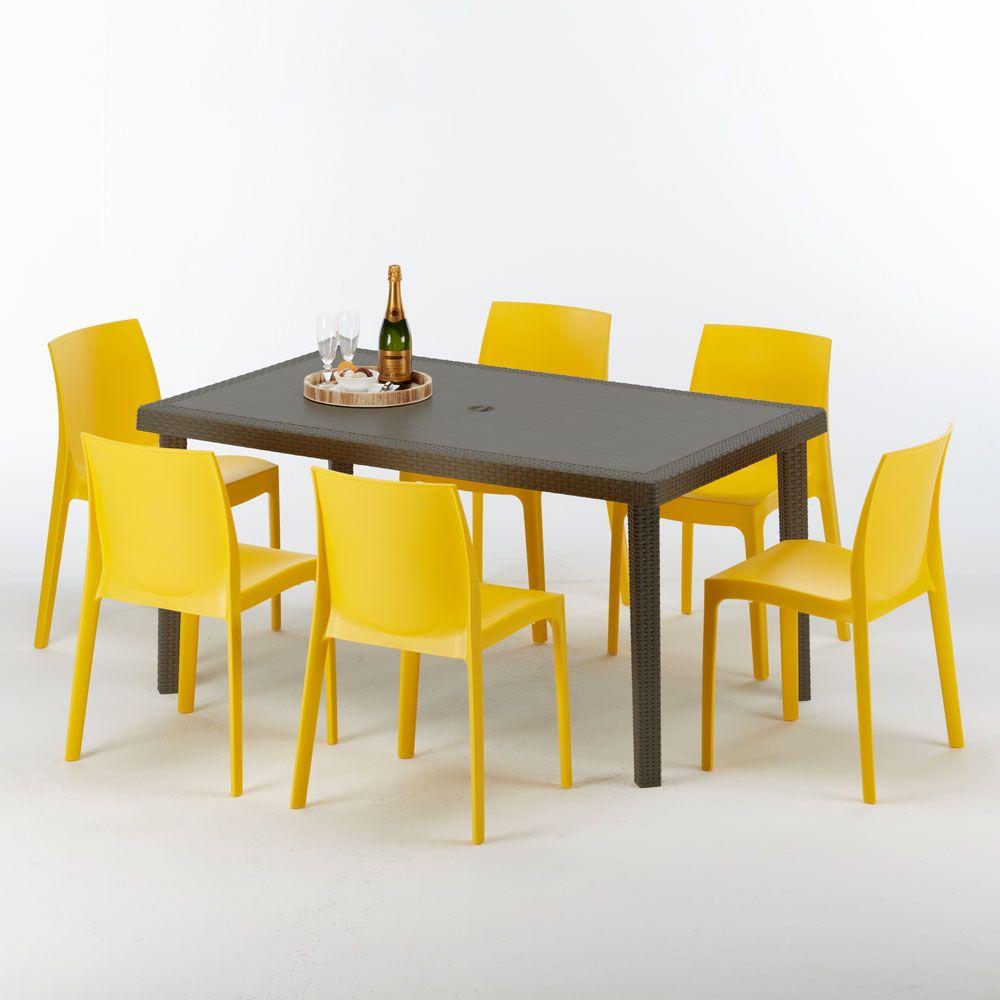Tavoli E Sedie In Rattan Prezzi.Tavolo Rettangolare 6 Sedie Rattan Sintetico Polyrattan Colorate