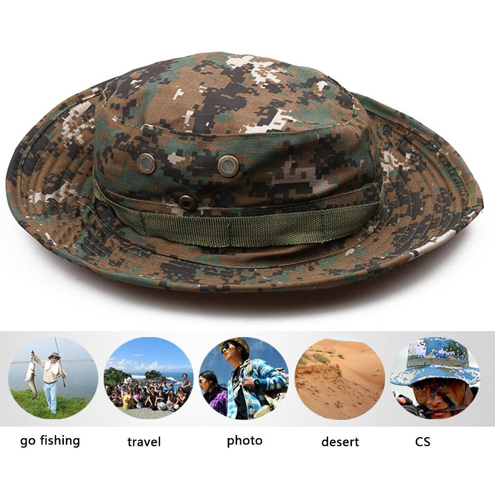 c8ce9f1cb5f Men s Fishing Hunting Sun Hat Snap Wide Brim Bucket Hat with String ...