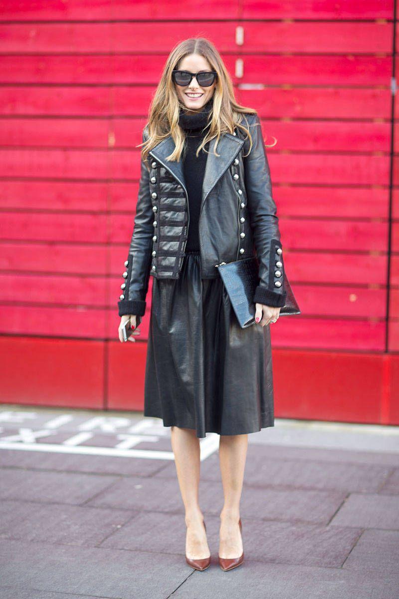 Olivia in an embellished leather jacket. #LFW