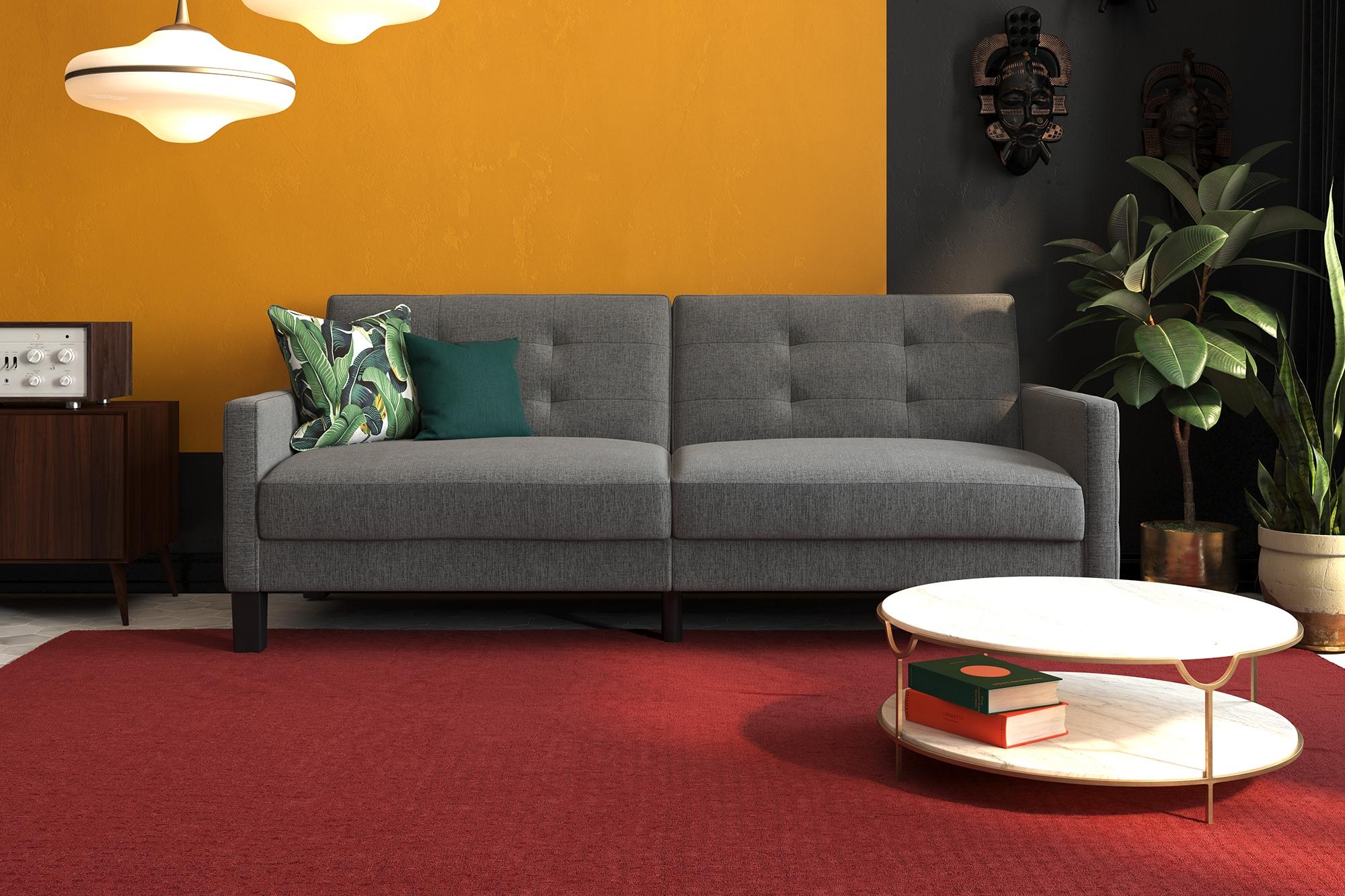 Astonishing Sherpard Futon Gray Products Furniture Nebraska Theyellowbook Wood Chair Design Ideas Theyellowbookinfo