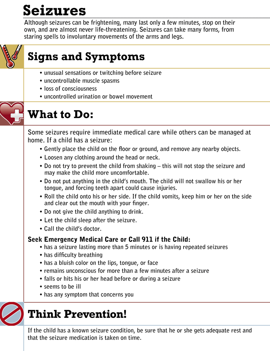Seizures Instruction Sheet Education health