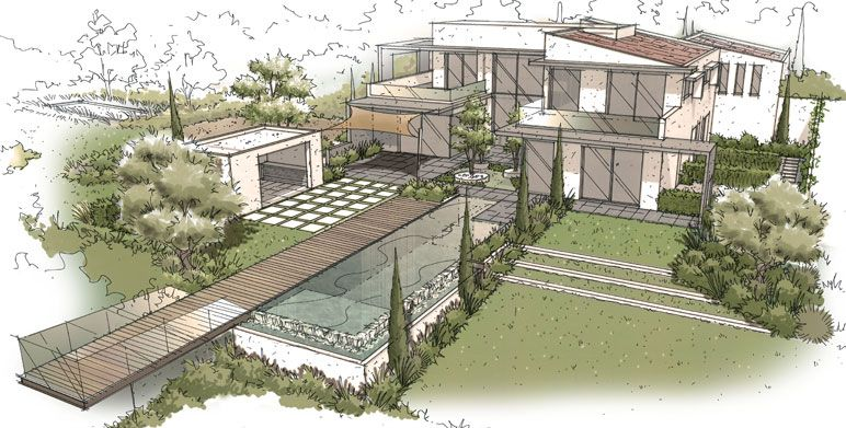 jardin contemporain aix en provence dessins et perspectives pinterest jardins. Black Bedroom Furniture Sets. Home Design Ideas
