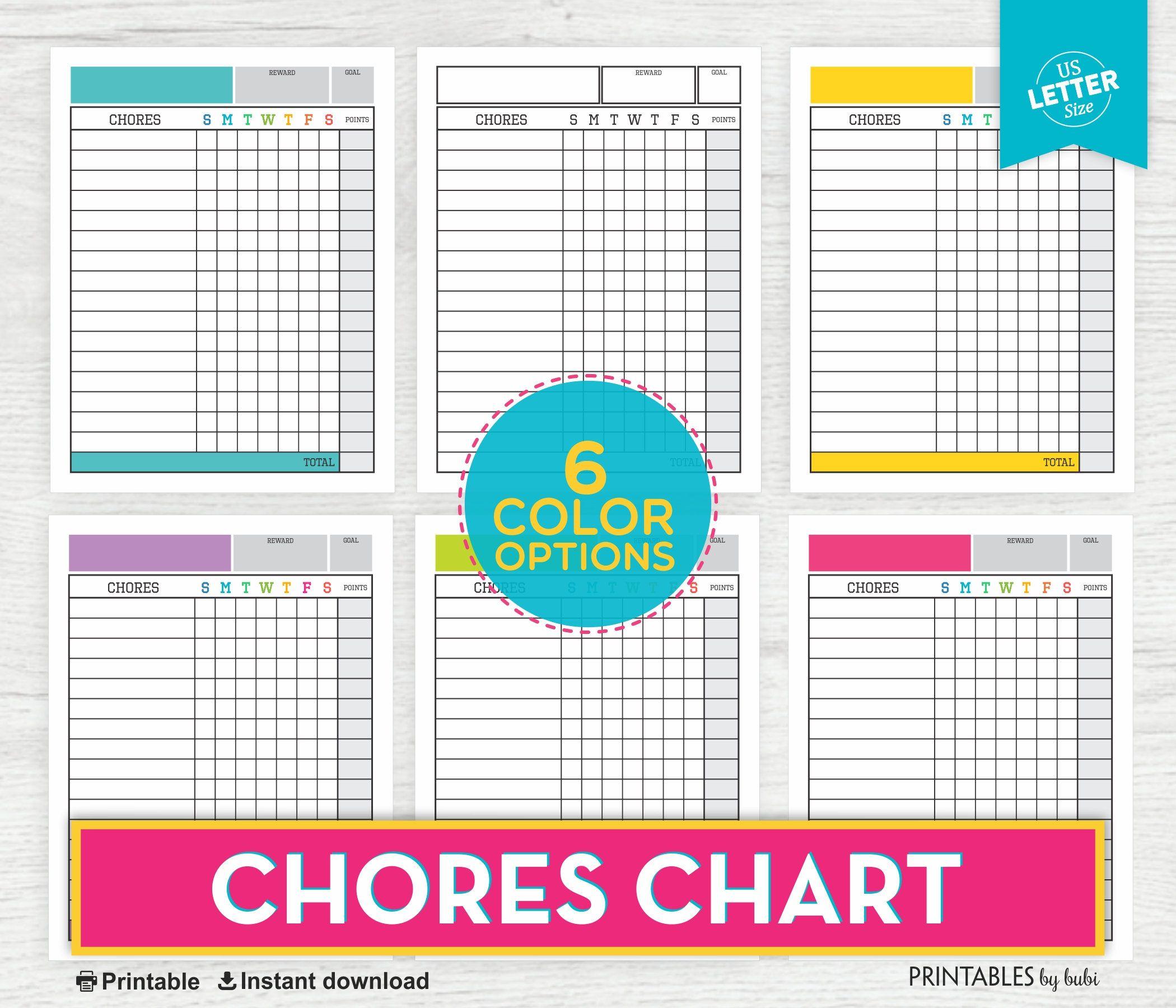 Kids Chore Chart Printable Chore Chart System Reward