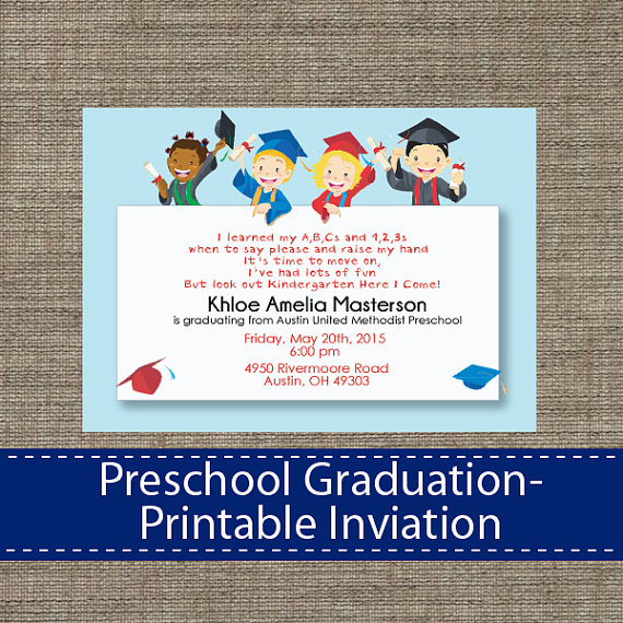 picture regarding Preschool Graduation Invitations Free Printable called Pin through SparkleStudio upon Commencement Preschool commencement