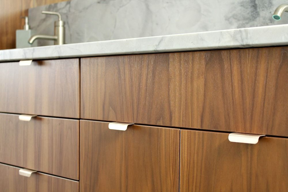 modern kitchen pulls light for bathroom reno update mid century inspired contemporary edge cabinet