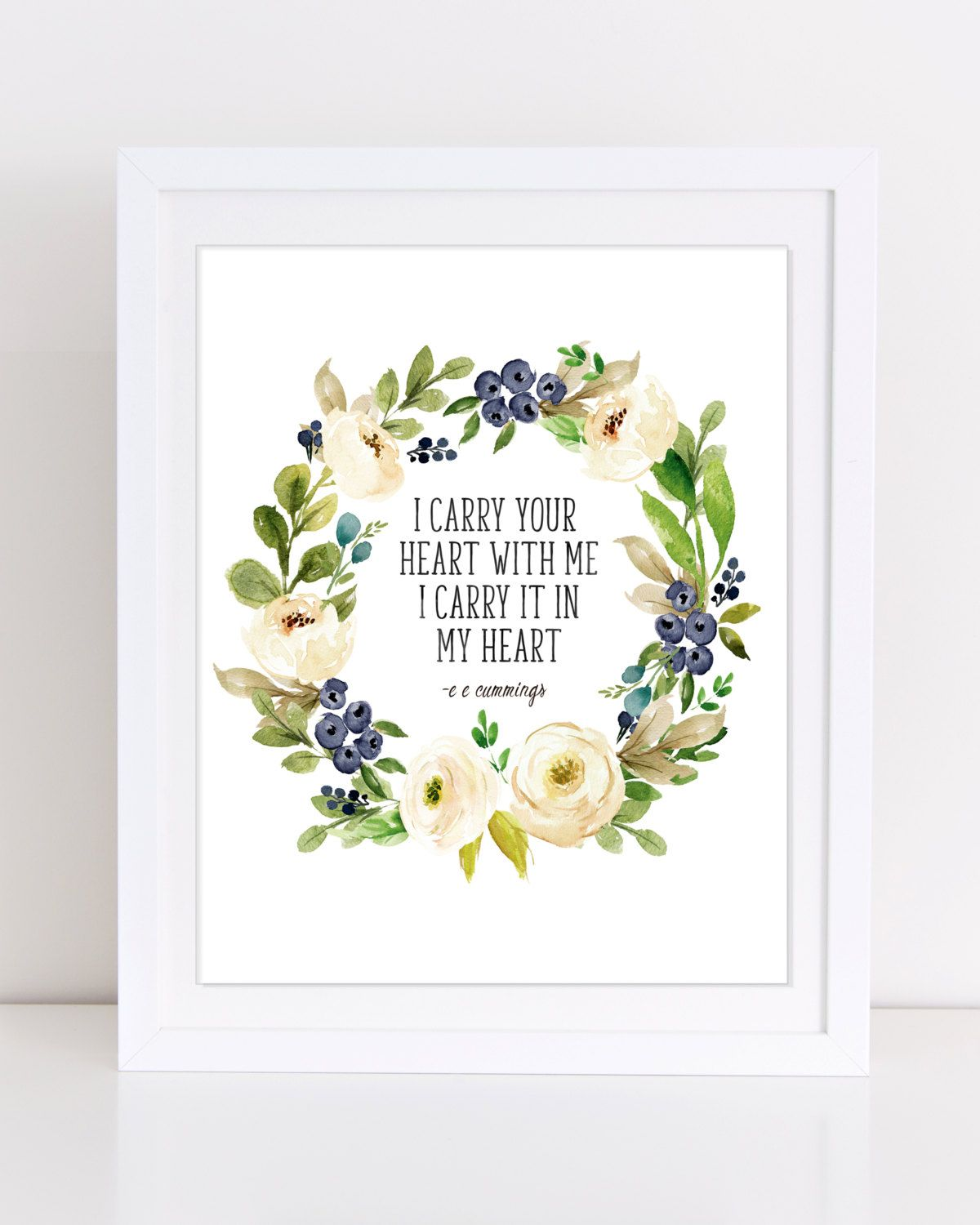 ee cummings I carry your heart with me I carry it in my heart Floral Wall Art poetry print PRINTABLE PoetryQuote Literary Quote Print  sc 1 st  Pinterest & ee cummings I carry your heart with me I carry it in my heart ...