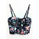 WithChic Dark Blue Floral Printed Strappy Crop Top