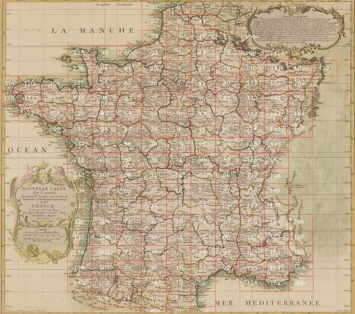 Cassinis map of france 1744 httptheatlantic cassinis map of france 1744 first national mapping project gumiabroncs Image collections