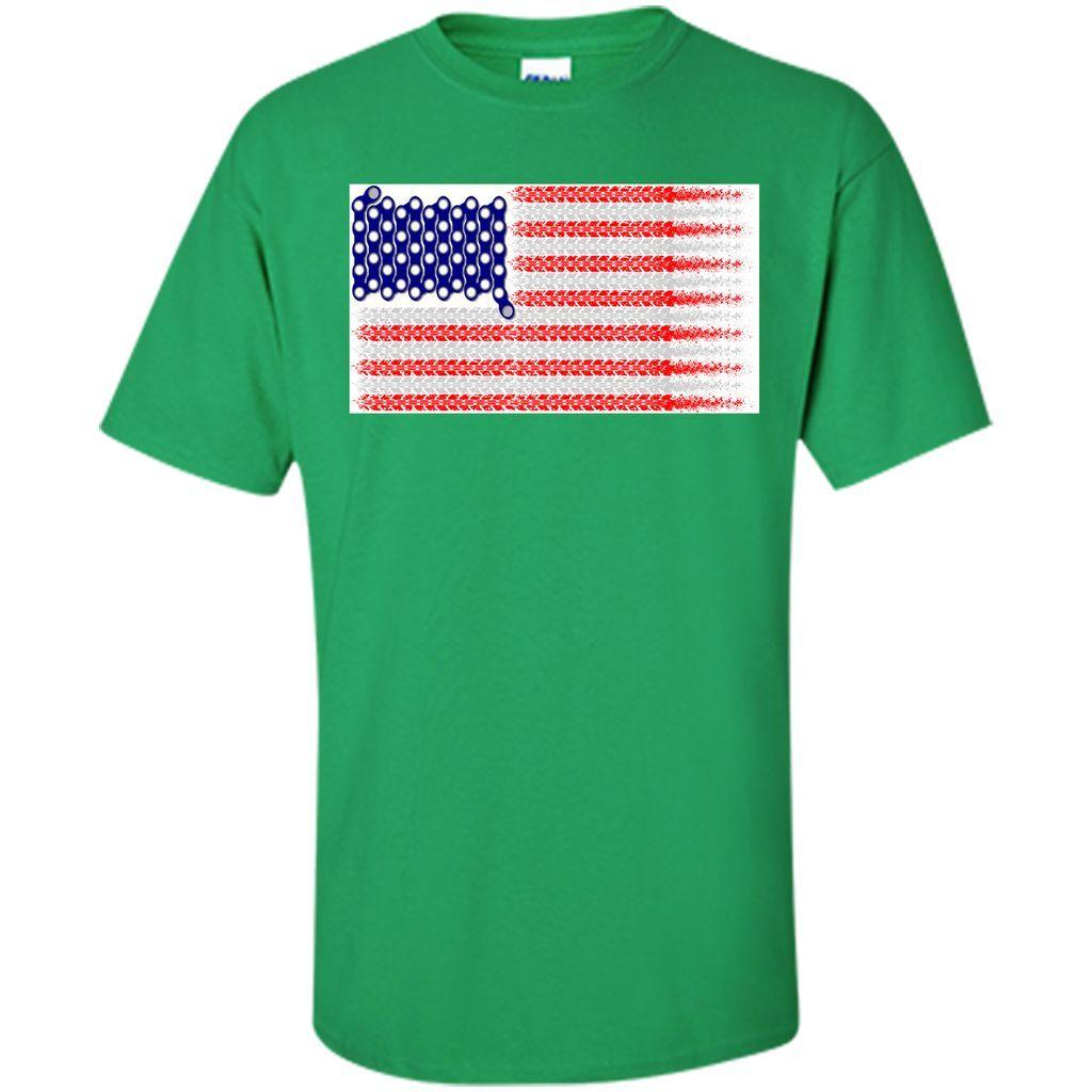 Bike USA Flag Red White And Blue T-Shirt