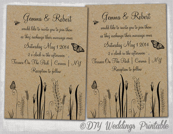 picture about Printable Rustic Wedding Invitations referred to as Rustic Marriage ceremony invites template -Editable \