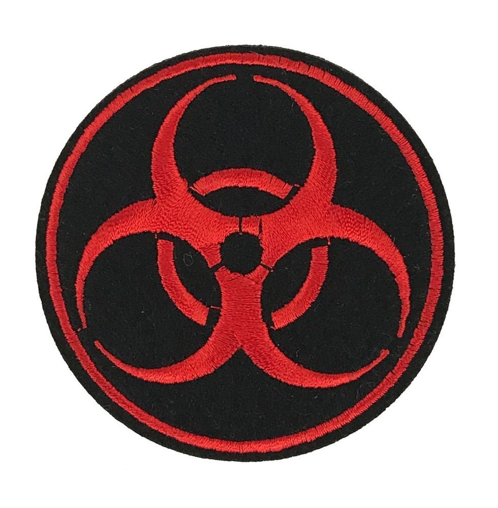 Red Biohazard Symbol Embroidered Patch Iron On Applique Zombie Toxic