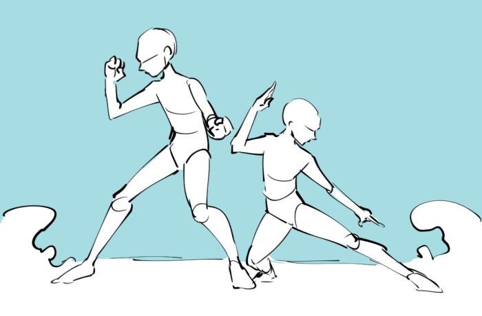 多人数をどうやって配置する 複数キャラクターの構図集 いちあっぷ アートリファレンス 背中合わせ イラスト 絵のデザイン