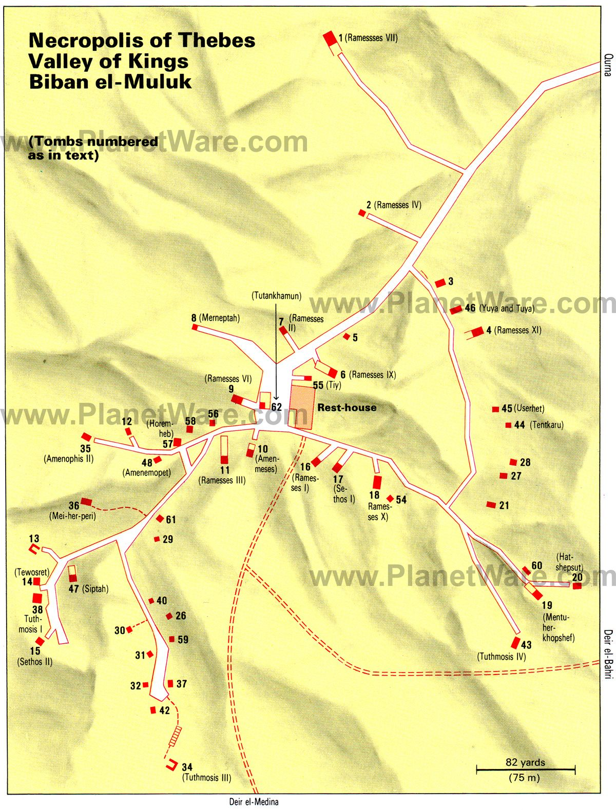 Valley Of The Kings Map Of Discovered Tombs Of Ancient Egypt - Map of egypt thebes