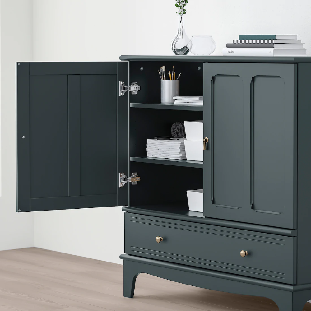 Lommarp Dark Blue Green Cabinet 102x101 Cm Ikea In 2020 Dark Blue Green Green Cabinets Green Dresser