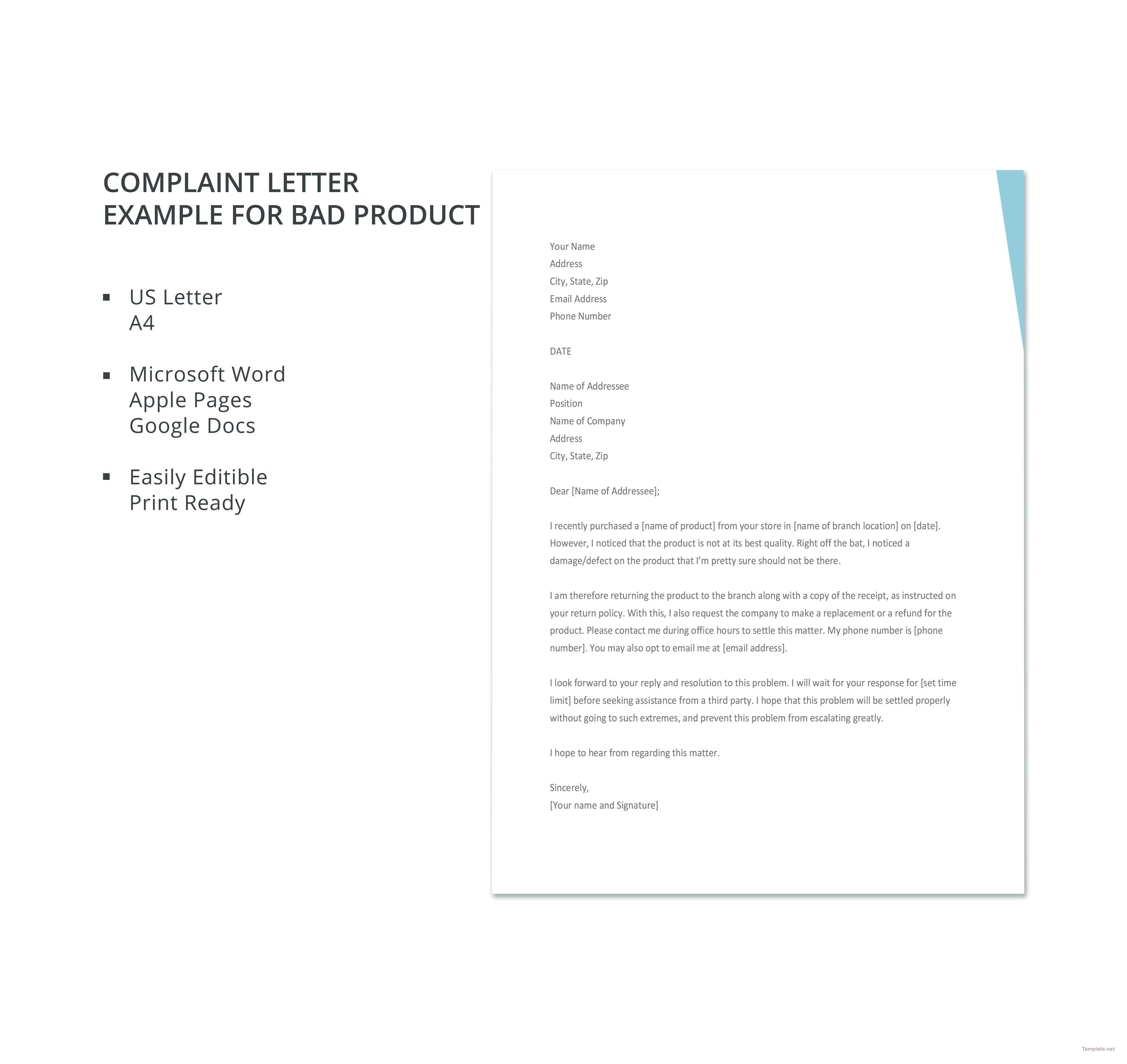 Complaint Letter Example For Bad Product Template Free Pdf Google Docs Word Letter Example Lettering Words