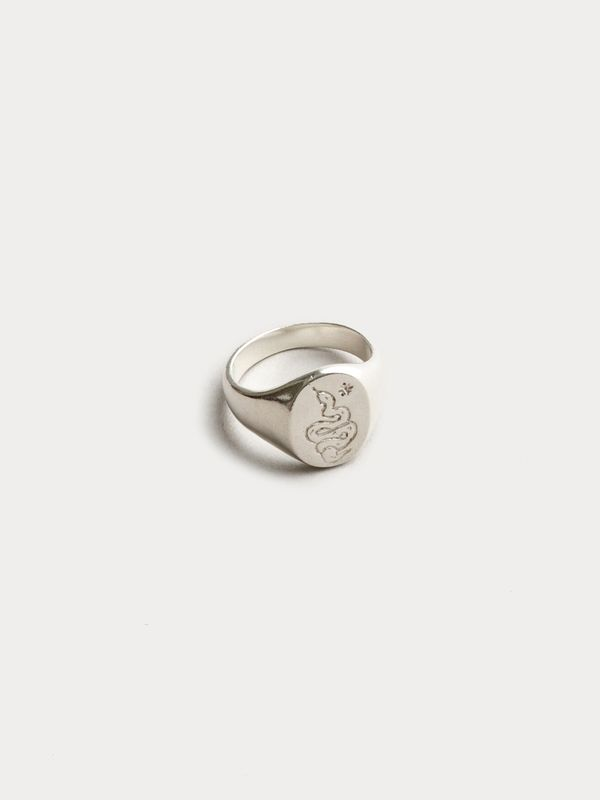 Wolf Circus Ophidian Signet Ring On Garmentory Signet Rings Women Rose Gold Engagement Ring Vintage Silver Signet Ring