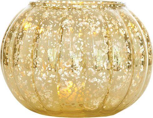 Large Gold Mercury Glass Vase Ribbed Design Mercury Glass