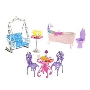 Disney Princess Doll Royal Castle Dining Bathroom Patio Furniture Barbie Set New Dolls Sets And