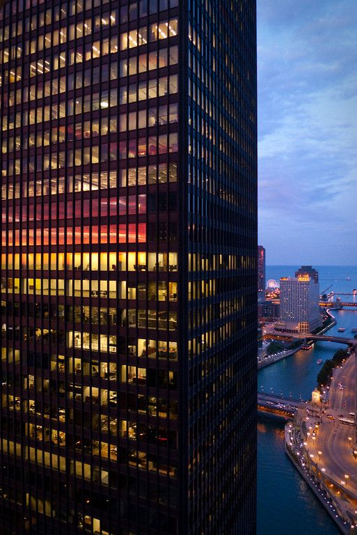 Home to The Langham, Chicago: 330 N. Wabash. Opened as the IBM Building in Chicago, designed by Mies Van Der Rohe.