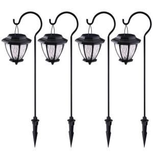 Hampton bay solar matte black outdoor integrated led shepard hook hampton bay solar matte black outdoor integrated led shepard hook landscape path light with hammered glass lens 4 pack workwithnaturefo