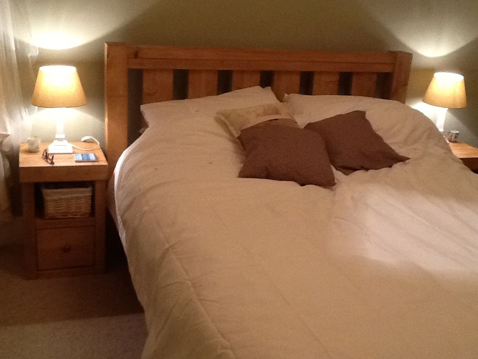 Our Slatted Headboard Bed Frame In Rustic Pine Accompanied By A Pair Of 1 Drawer Bedside Tables To Match