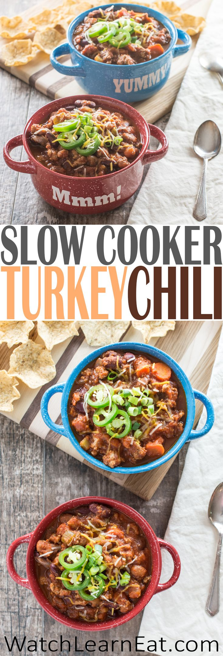This Slow Cooker Turkey Chili Recipe features ground turkey, kidney beans, pinto beans and fresh vegetables for a hearty and healthy meal.