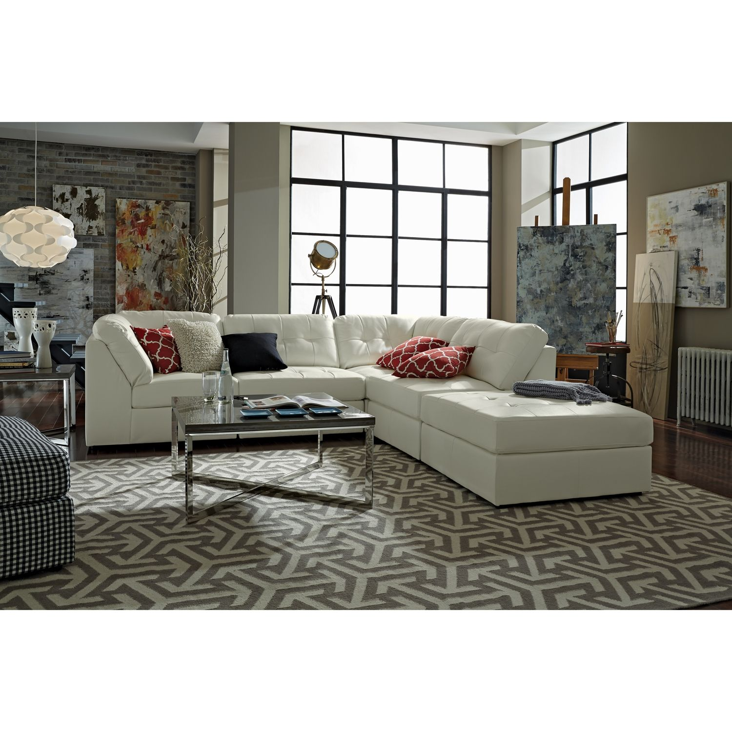 Aventura Ii Leather 5 Pc Sectional And Cocktail Ottoman Value