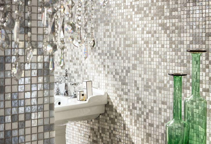 Mosaico di vetro madreperlato windsor mosaici bagno bathroom bathtub e sink - Mosaico vetro bagno ...