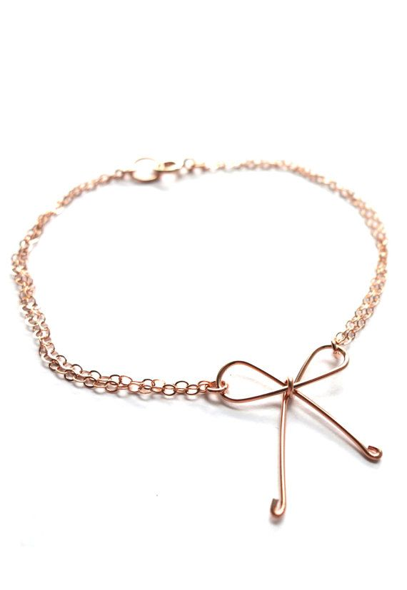 Tie the Knot - Rose Gold Filled Bracelet, Hand wired knot ...