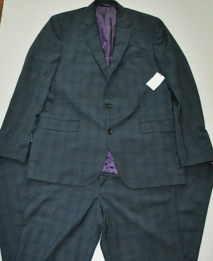Adam Baker Mens 100/% Wool Portly Fit Two-Piece Solid Suit Set Colors