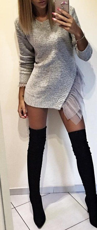 Grey Dress // Knee Length Boots Source