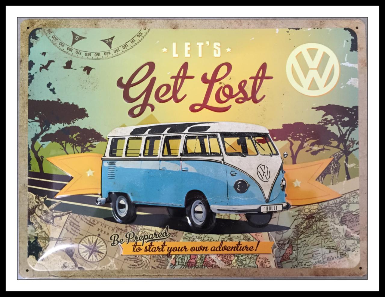 Plaque m tal relief combi kombi camper volkswagen van vw kamper t1 t2 t3 vintage r tro wv - Plaque publicitaire vintage ...
