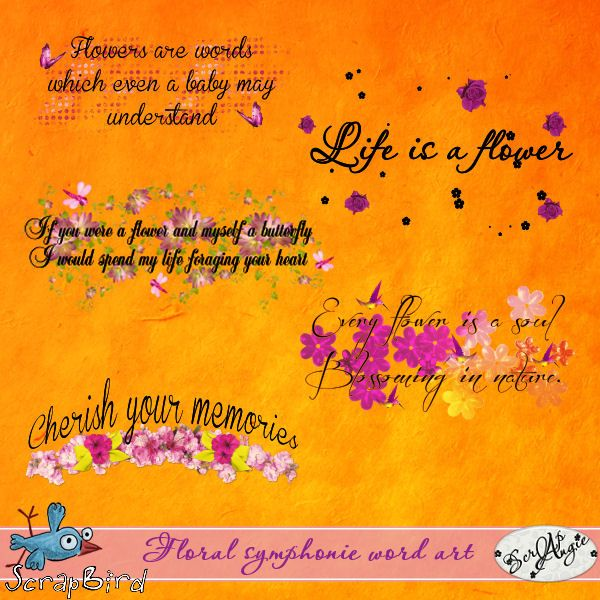 Floral symphonie word art by Scrap'Angie