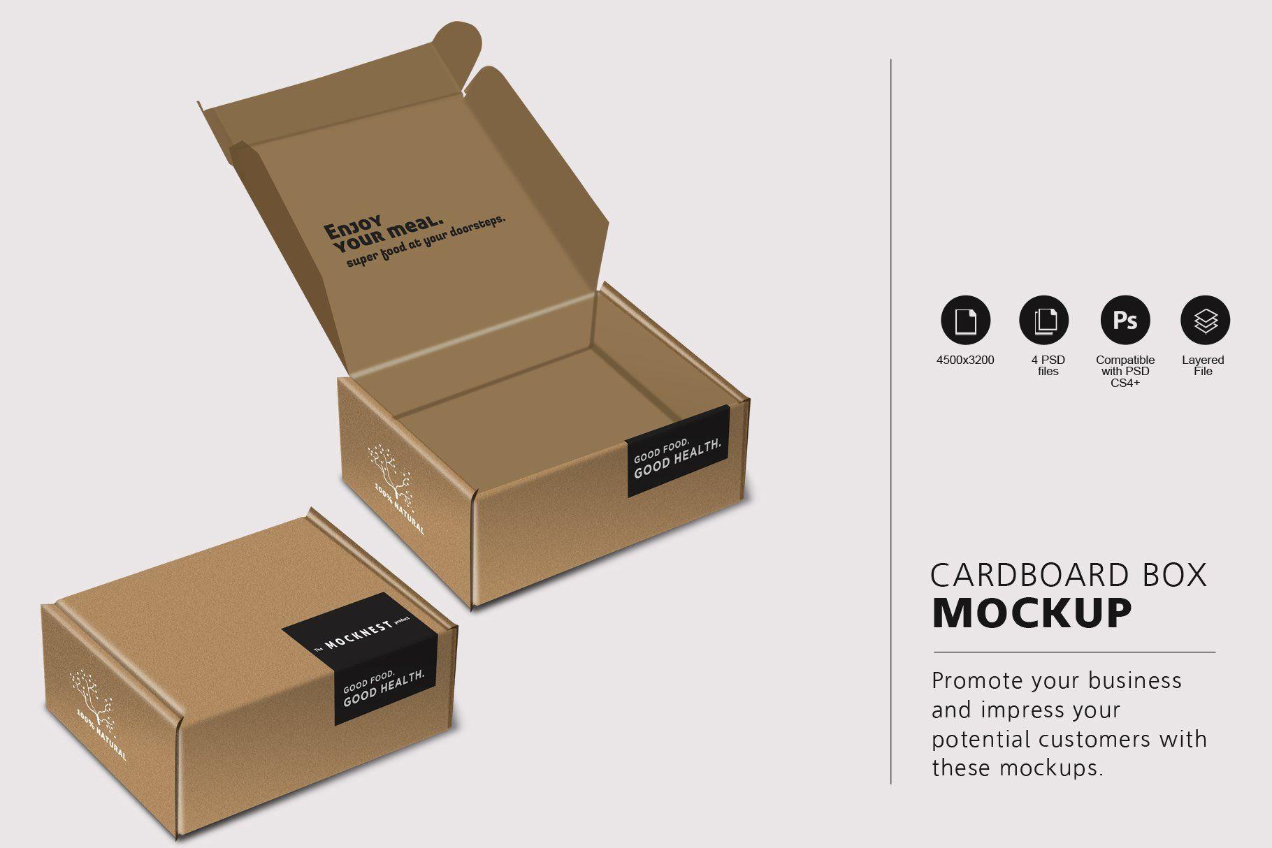 Download Cardboard Box Mockup Box Packaging Templates Box Mockup Packaging Labels Design