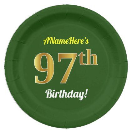 Green Faux Gold 97th Birthday Custom Name Paper Plate - simple clear clean design style unique  sc 1 st  Pinterest & Green Faux Gold 97th Birthday Custom Name Paper Plate - simple clear ...