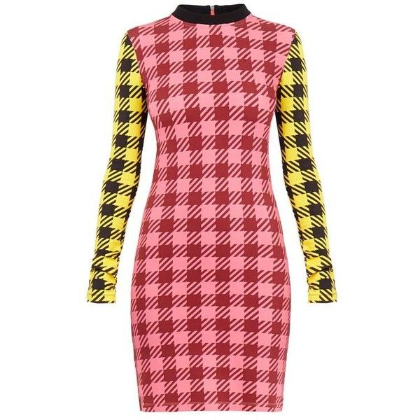 Gingham Tartan Contrast Mini Dress ❤ liked on Polyvore featuring ...