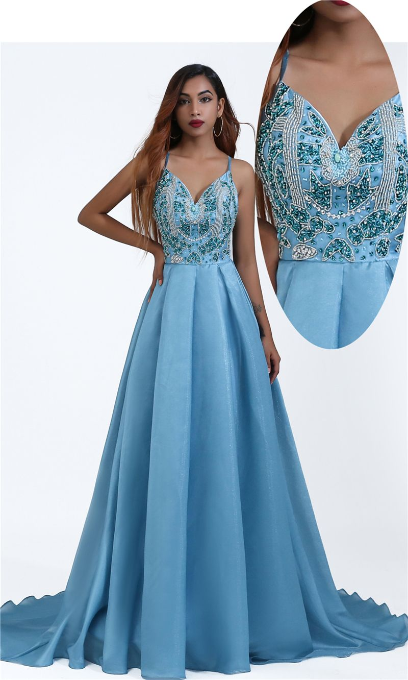 Free Shipping Beaded A Line Blue Prom Dress From Sugerdress Prom Dresses For Teens Classy Evening Gowns Stunning Dresses [ 1332 x 800 Pixel ]