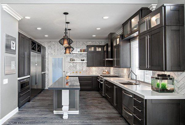 Grey hardwood floors ideas modern kitchen interior design for Kitchen cabinet trends 2018 combined with large driftwood wall art