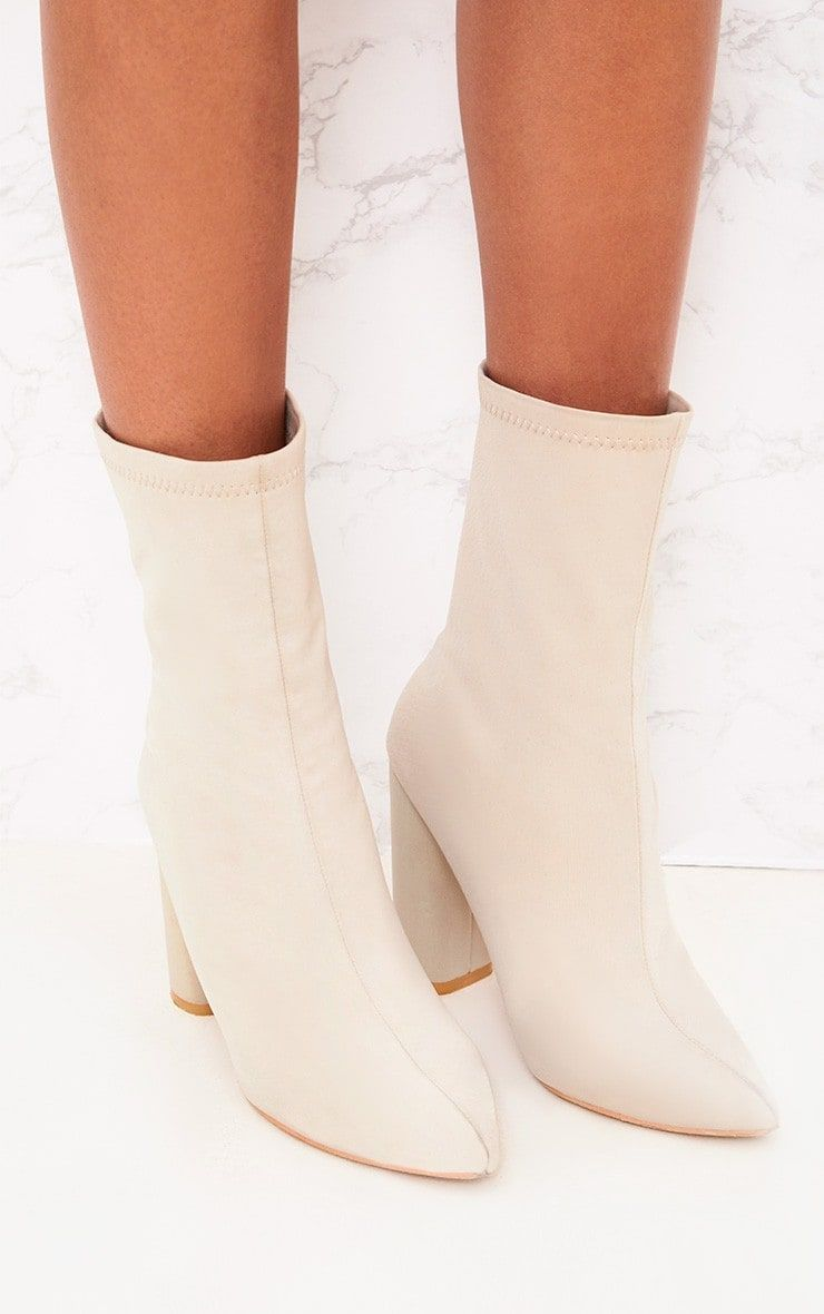 82caed7195c0 Light Grey Neoprene Pointed Sock BootsGet serious style points with these  sock boots