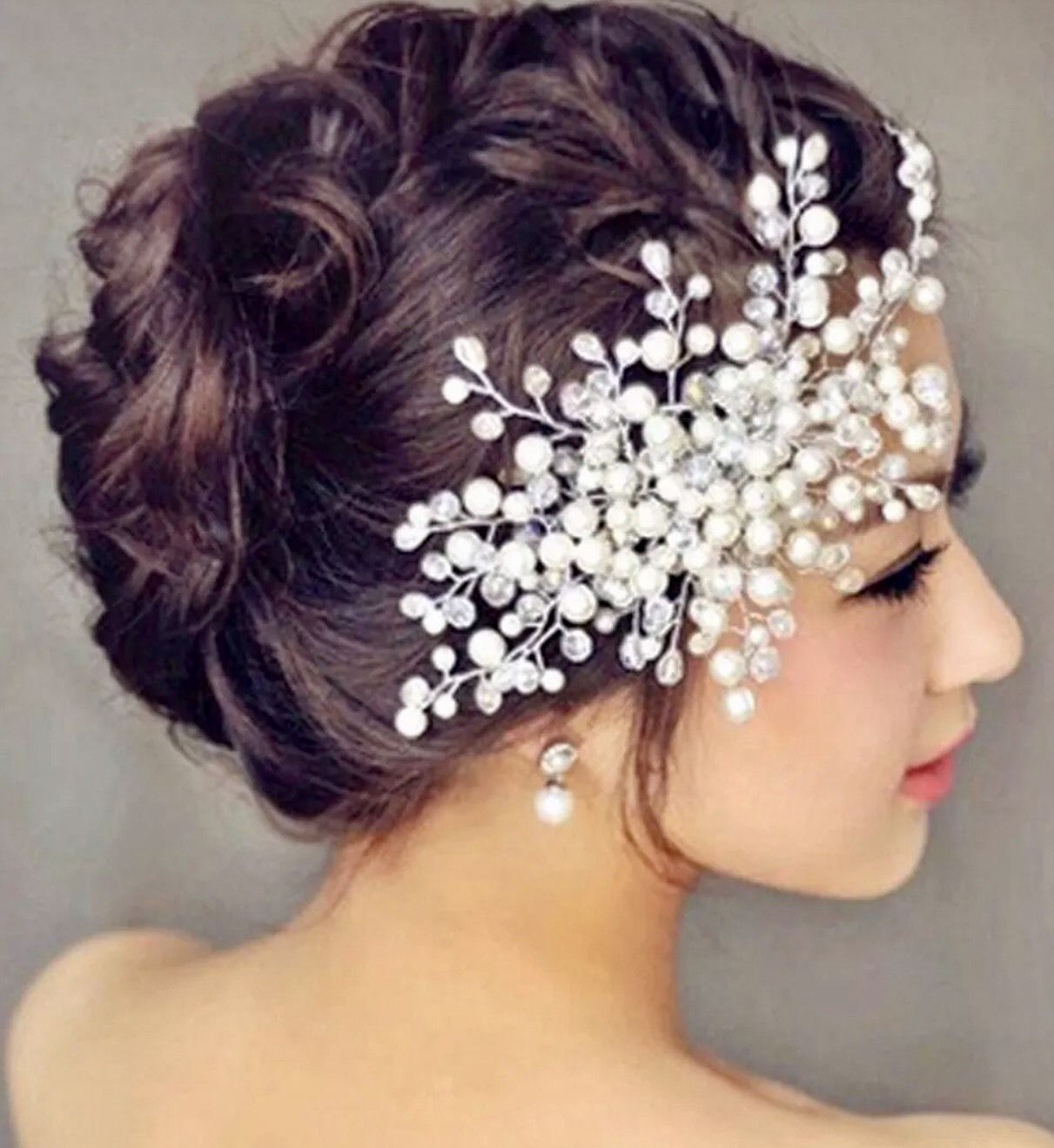 bridal wedding party prom hair comb clip pearls crystal