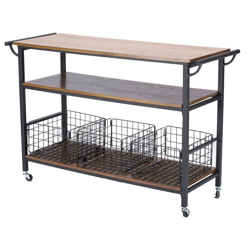 Fresnay Kitchen Island With Wooden Top Rustic Kitchen Kitchen Cart Industrial Kitchen Island