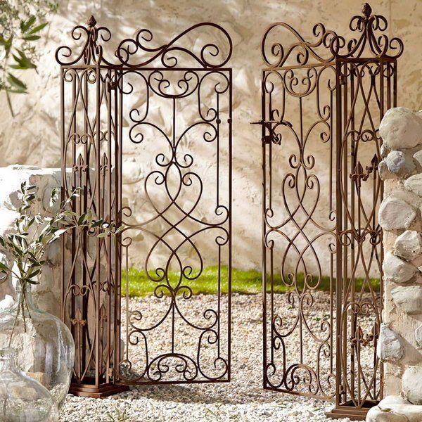 Unique Metal Garden Gates Two Wings Wrought Iron Garden Gate Stone Pillar
