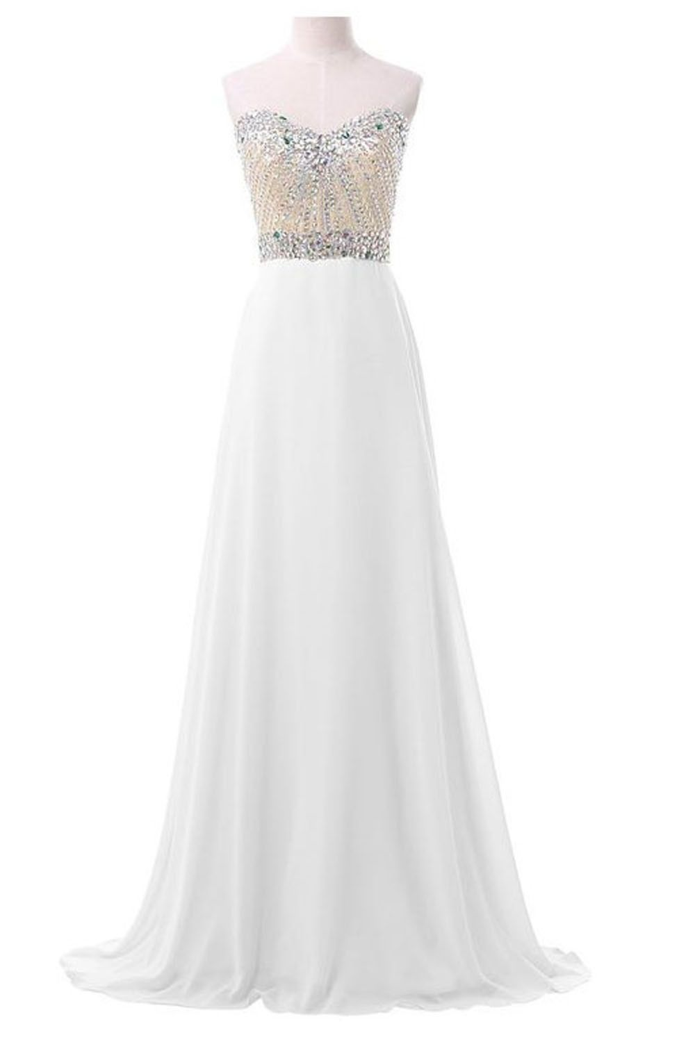 White chiffon sweetheart beaded long prom evening dresses sweet