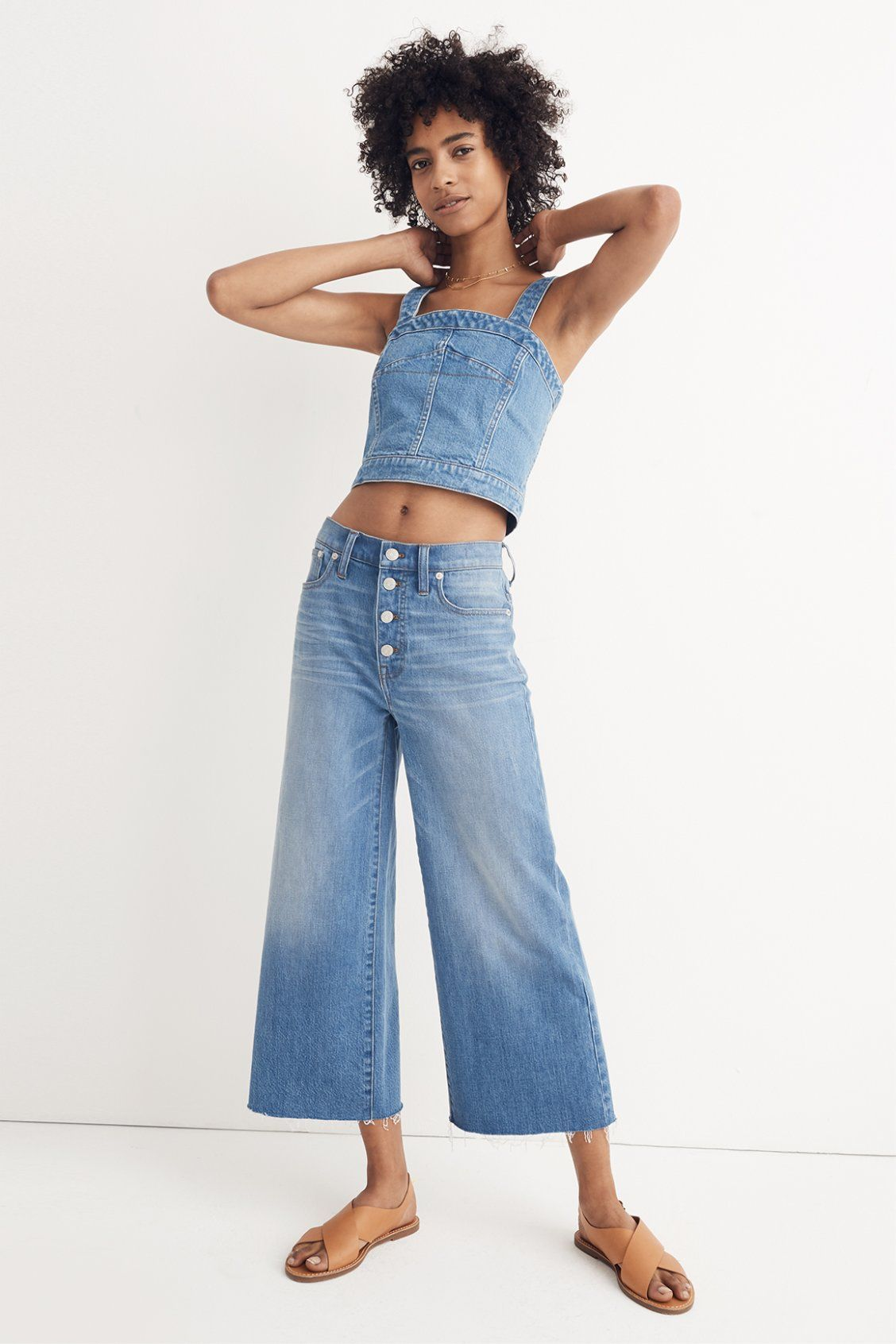 a6b400521d madewell denim crop top worn with the wide-leg crop jeans  button-front  edition + the boardwalk crossover sandal. call 866 544 1937 or email ...