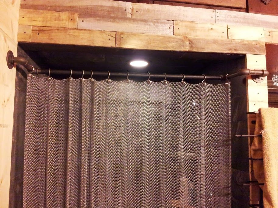 Metal shower curtain with plumbing pipe curtain rod. | My Bathroom ...